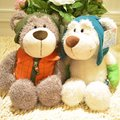 candice guo! Nici plush toy cute couple Skiing sports Bear clothes trousers bear doll lover valentine day Christmas gift 1pc