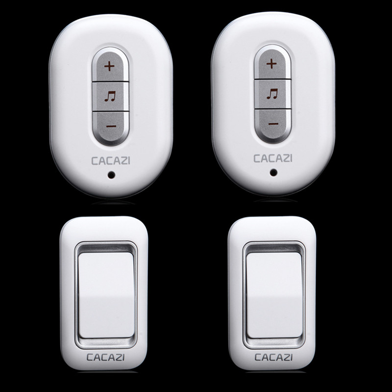 CACAZI 2 doorbell buttons 2 doorbell receivers AC 110-220V 300M remote control digital waterproof button wireless door chime 2 receivers 60 buzzers wireless restaurant buzzer caller table call calling button waiter pager system