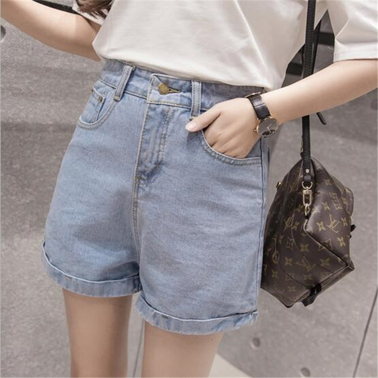 Female students high waisted denim shorts casual pants WP45