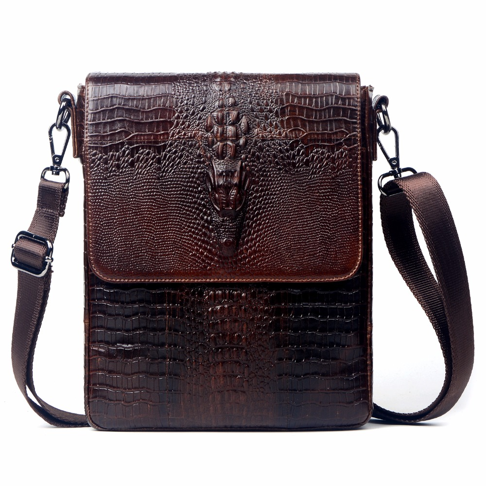 100% Genuine Leather Bag For Men First Layer Cow Skin  Crocodile Style Men's shoulder Business Messenge Bag Tablet PC handbag xoomz for iphone 7 crocodile genuine leather coated plating pc shell brown