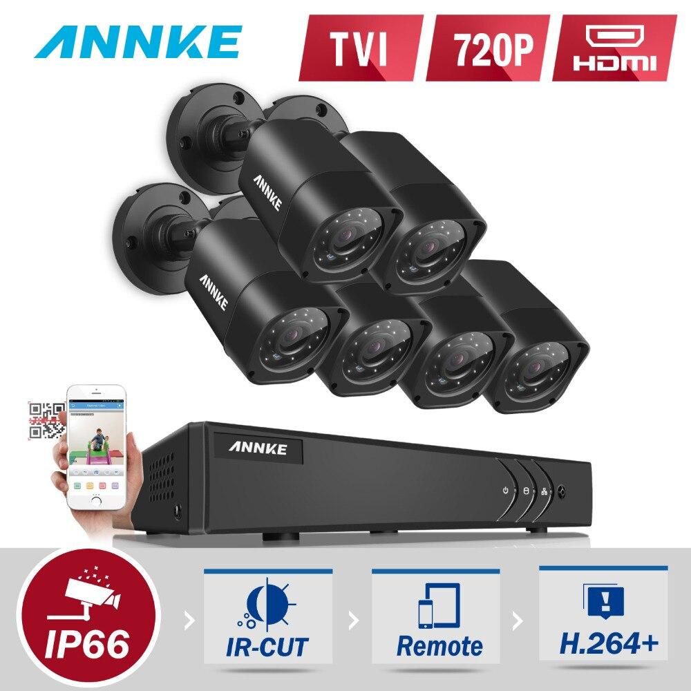 ANNKE 8CH 720P система безопасности 1080p Lite цифровой видеорегистратор с(6)1280TVL наружная устойчивая водонепроницаемая камера HDMI выхода