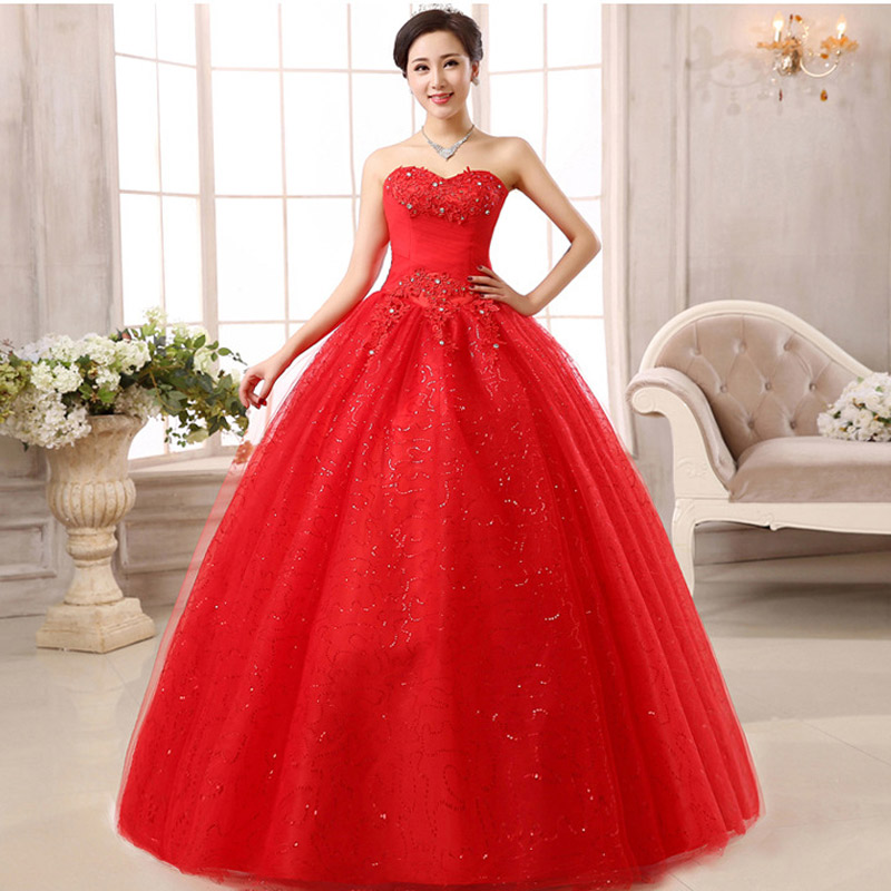 Vestidos De Noiva Fashion Red Wedding Dresses New Hot Drilling Embroidery Wedding Dress Lace Sexy Princess Wedding Gown