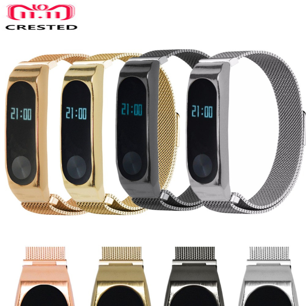 CRESTED Milanese Loop for xiaomi mi band 2 wrist strap Magnetic buckle Link Bracelet for xiaomi mi band2 wrist band Bracelets milanese loop bracelet for xiaomi mi band 2 strap stainless steel metal wrist band for xiaomi mi band2 replacement wristband