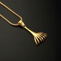 Statement Yellow Gold Color Long Comb Pendant Necklaces Unique High Quality Hip Hop Men Jewelry M029