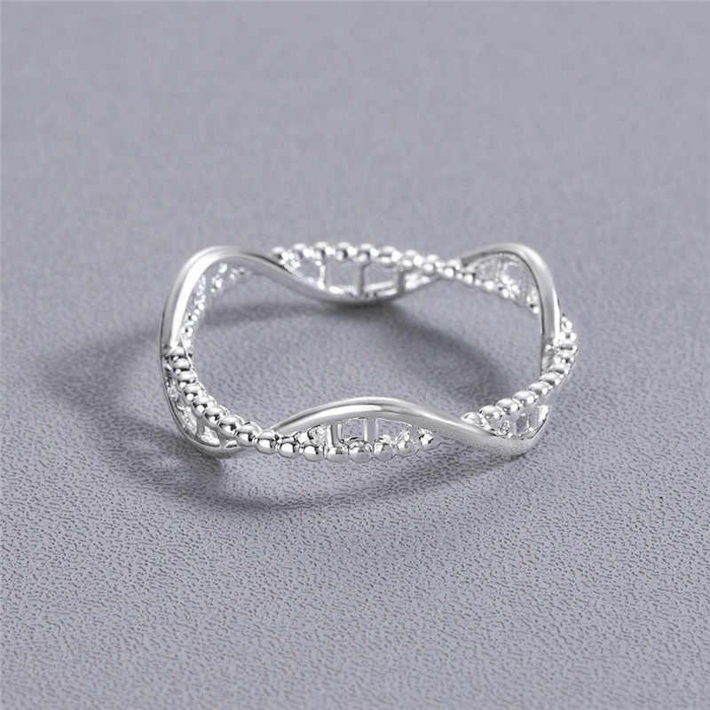 เรขาคณิต DNA แหวนผู้หญิงหญิง Femme สาวปาร์ตี้ของขวัญชีววิทยาเคมีโมเลกุลแหวนขายส่งเครื่องประดับ