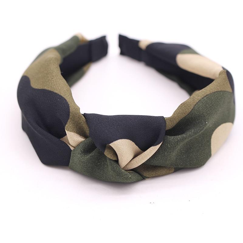 Boêmio militar cetim hairband centro atada bandana camuflagem nó bandana personalizado acessórios de cabelo