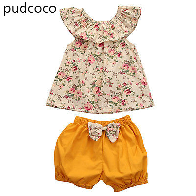 2PCS Toddler Kids Baby Girls Summer Clothes Sleeveless Floral T-shirt Tops+Bow Yellow Shorts Outfit Set Clothing 2pcs children outfit clothes kids baby girl off shoulder cotton ruffled sleeve tops striped t shirt blue denim jeans sunsuit set
