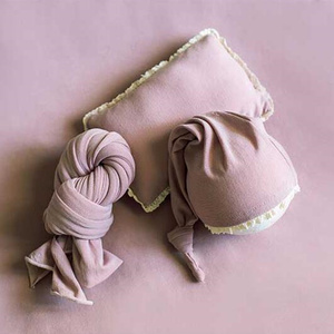 Image 5 - Ylsteed 3Pcs/Set Newborn Photo Props Baby Tail Hat Stretch Photography Wrap with Posing Pillow Infant Studio Shooting Outfits