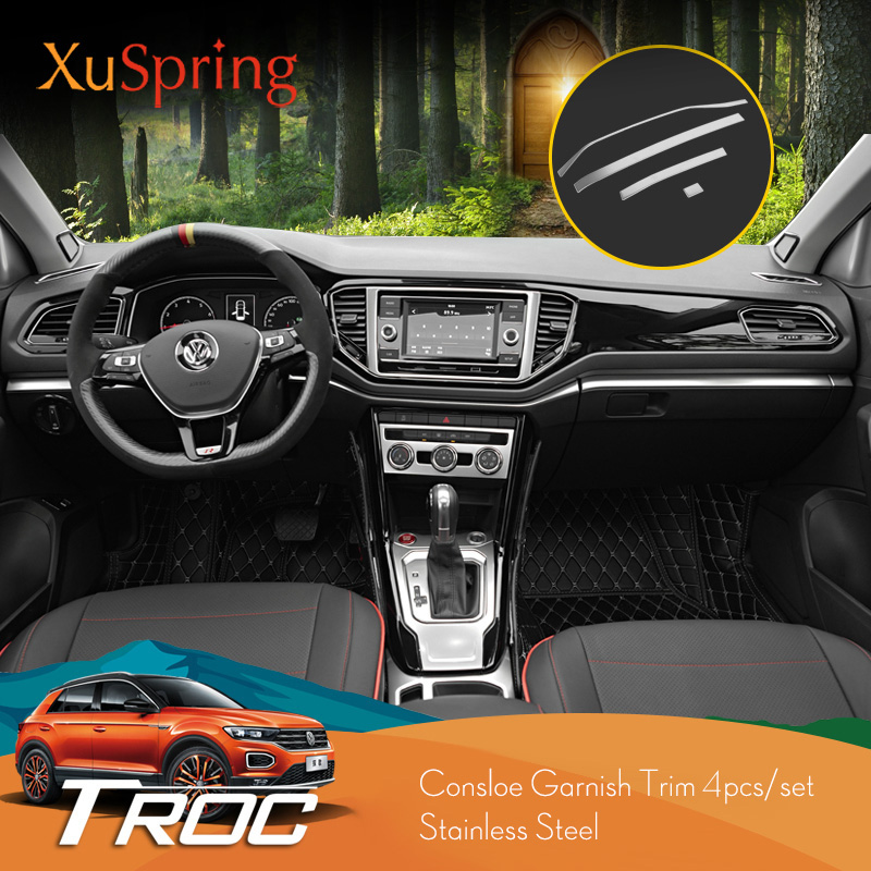 For VW T Roc 2017 2018 2019 Car Dashboard Center Control Edge Trim Interior Garnish Sticker Strips Accessories Styling 4Pcs/Set