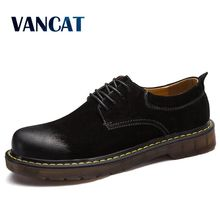 VANCAT 2018 New Genuine Leather Cow suede Men Shoes Casual Luxury Classic Sneakers Fashion Footwear Oxfords Shoes High Quality