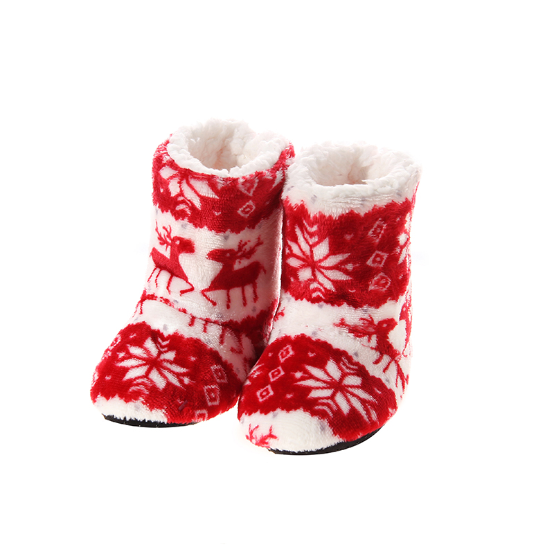 Jufoyu New Indoor Home Slippers Kids Christmas Flannel Shoes Plush ...