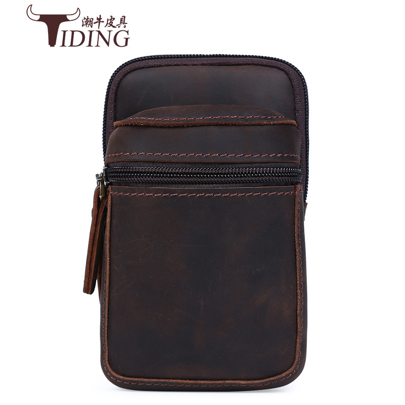 TIDING Genuine Crazy Horse Leather Men Mini Fanny Pack Cell Phone Pouch Bag Cow Leather Case For Mobile Phone 2017 New combo sale mimco mim duo hip bag polished cow black leather shiny gold supernatural medium pouch super natural mim pouch