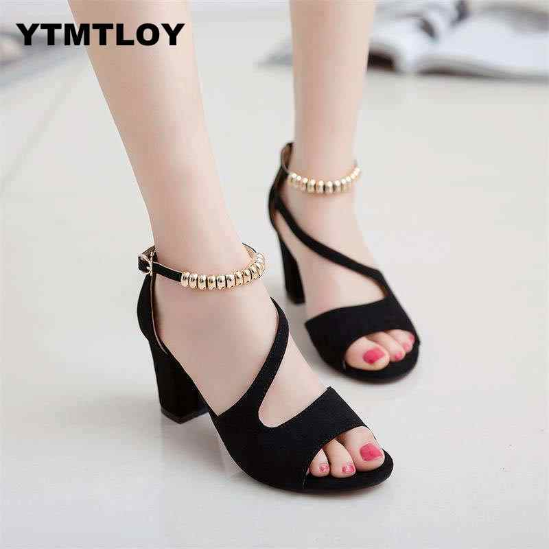Artı boyutu 34-42 yaz kadın sandalet açık Toe bayan sandalet kalın topuk pompaları ayakkabı kore tarzı gladyatör yüksek Peep Zapatos