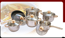 FREE SHIPPING 12pcs COOKING POTS  INOX  POTS COOKWARE SET pan and pot CASSEROLE golden plated handles