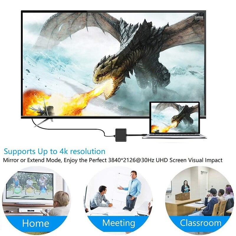 Baolyda USB C Dock HDMI Type C to HDMI Hub Adapter 4K USB C Multiport Adapter USB C Converter for MacBook/Chromebook Pixel/Dell 5
