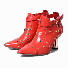 2017 Early Spring New Boots Fashion Martin Shoes Women Ankle Boot Chelsea High Heels Buckle Rivet Studded Red Leather