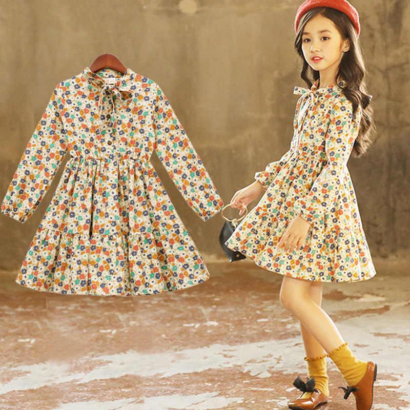 2019 платье для маленьких девочек одежда для маленьких девочек хлопковые детские платья с длинными рукавами и цветочным принтом для детей 3, 4, 5, 6, 7, 8, 9, 10, 11, 12 лет Kinder Kleider