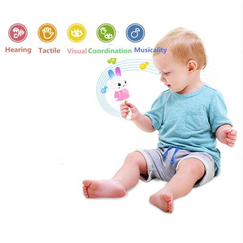 YuanLeBao Cute kwaii Kids Baby Toys Animal Hand Bells Puzzle Sound&Light Musical Bunny Grasp Training Attract Toy Christmas Gift