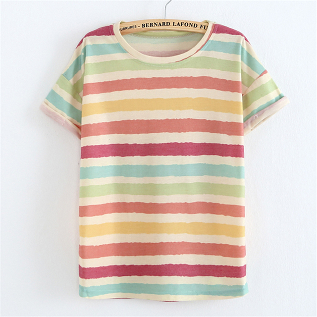 2017National style cotton Linen t shirt Women Crimping sleeve Striped/flowers print tees casual t-shirt 17color free ship