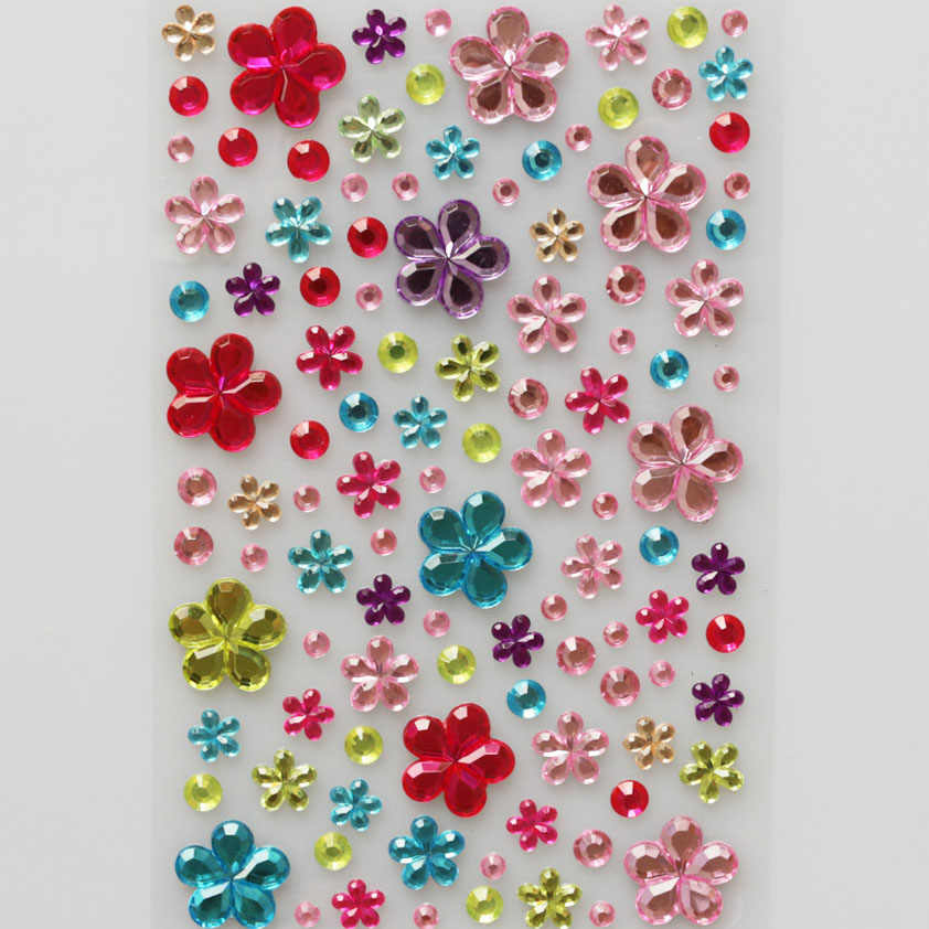 3D Crystal Pearl Flower Decal Stickers on Laptop Mobile Phone Diamond DIY Kids Sticker Toys for Children Creative Gifts