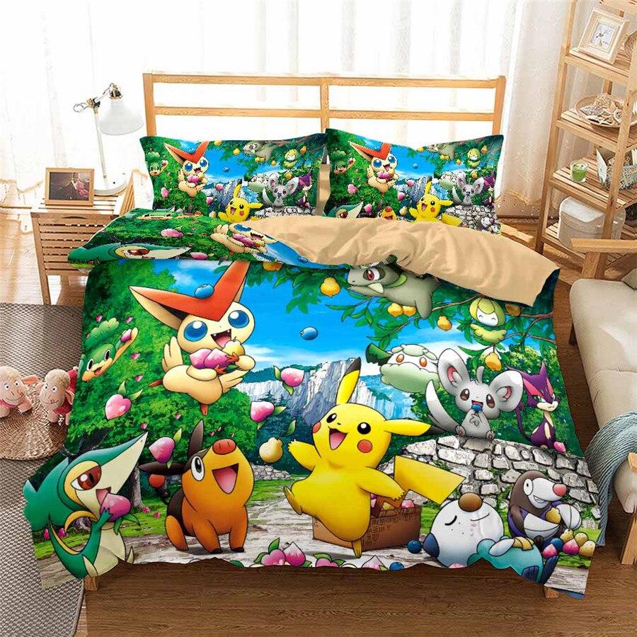 HELENGILI 3D Bedding Set Pokemon Pikachu Print Duvet Cover Set Bedcloth With Pillowcase Bed Set Home Textiles #GN-26