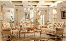 New Leather Sofa 1 + 2 + 3 combination of solid wood furniture living room Sofa champagne