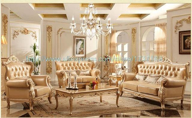 New Leather Sofa 1 + 2 + 3 combination of solid wood furniture living room  Sofa