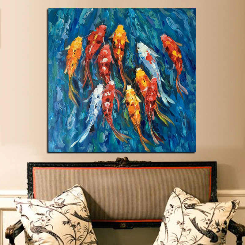 Wall Art Picture Traditional Chinese Abstract Landscape Oil Painting Print Nine Koi Fish on Canvas Poster For Living Room Decor