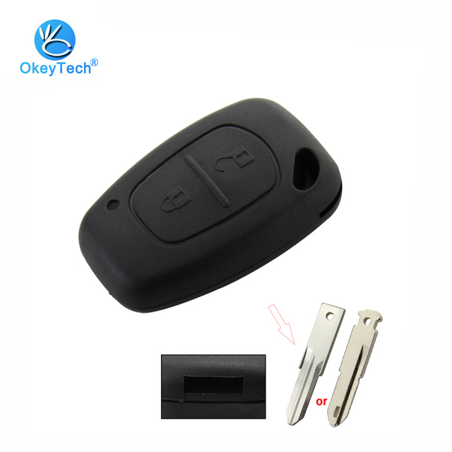 OkeyTech 2 Button Remote Car Key Shell Case Not Include Blade Fob for Renault Traffic Master Vivaro Nissan fit VAC102/NE73 Blade
