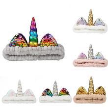5pcs Unicorn sequins Children headband Coral Fleece wash Kids Headband Makeup Shower Head Wrap with Christmas Gift