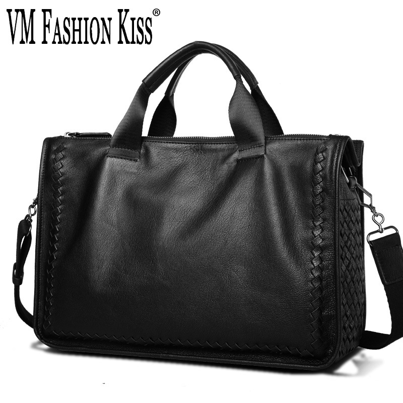 VM FASHION KISS 2018 Business Casual Genuine Leather Laptop Portable Briefcase Weaving Shoulder Messenger Office Bags For Men