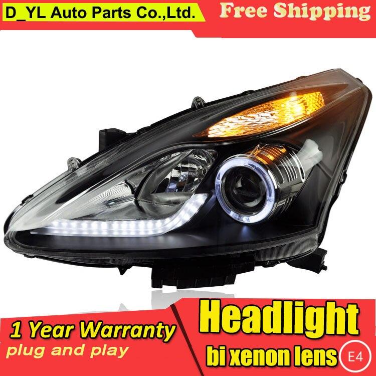 D YL Car Styling for Nissan Tiida Headlights 2011 2015 Tiida LED Headlight DRL Lens Double