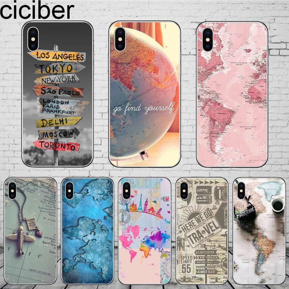 ciciber World Map Travel Phone Cases for iPhone 11 Pro Max Cover For iPhone XR 8 7 6 6S Plus X XS Max 5S SE Soft TPU Shell Coque