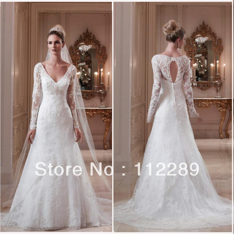 2014 Best Sale White Long Sleeve Lace Wedding Dress With Keyhole