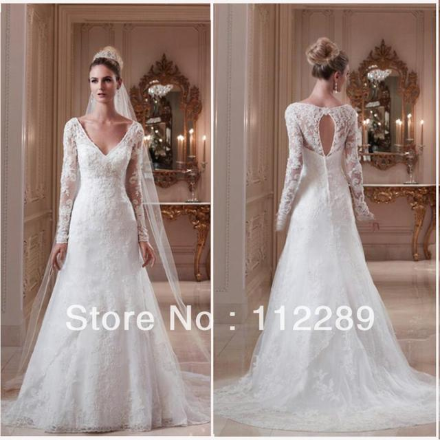 31202afc18c 2014 Best Sale White Long Sleeve Lace Wedding Dress With Keyhole Back For  Muslim Women HZ3377