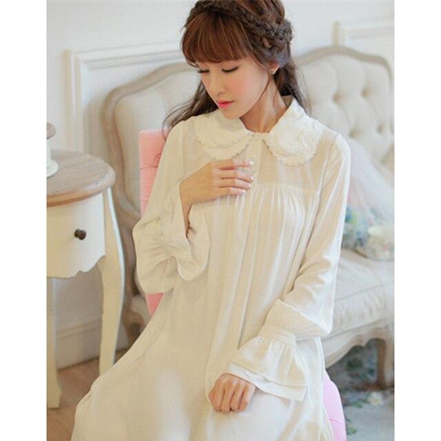 Free Shipping 100% Cotton Princess Women s White Long Nightgown Royal  Pijamas Beige Sleepwear Soft Nightdress fc667a275