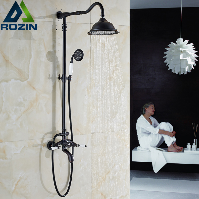 Wall Mounted Dual Handle Shower Set Bathroom 8 Rainfall Shower Coumn Mixer with Handheld Shower