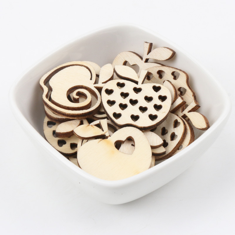 Natual Wooden Apple Pattern Scrapbooking Art Collection Craft For Handmade Accessory Sewing Home Decoration 30mm 20pcs
