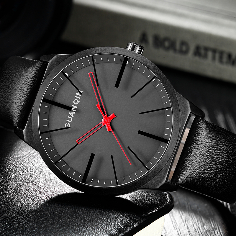 GUANQIN Mens Watches Top Brand Luxury Simple Design Leather Strap Quartz Watch Men Creative Casual Wristwatch relogio masculino биде подвесное ideal standard e772201 connect