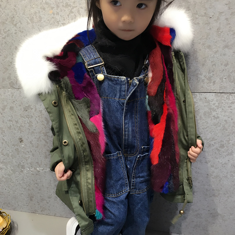 New Winter Children Warm fox fur Hooded Coat Kids Hooded Fur Collar Zipper Thick Outerwear Baby Boys Girls Parka new winter girls boys hooded cotton jacket kids thick warm coat rex rabbit hair super large raccoon fur collar jacket 17n1120