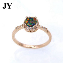 JY Shampane Color Rings Fire Opal Rings for Women Colorful  White Crysal Zircon Jewelry Best Cute Gift Woman Anel