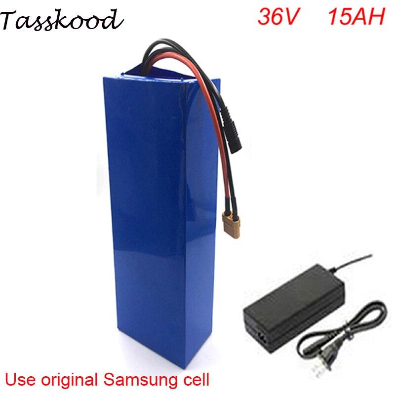 DIY велосипед батарея В 36 В литий-ионный Электрический велосипед батарея В 36 В 15ah литиевая батарея с BMS и зарядное устройство для samsung ячейки
