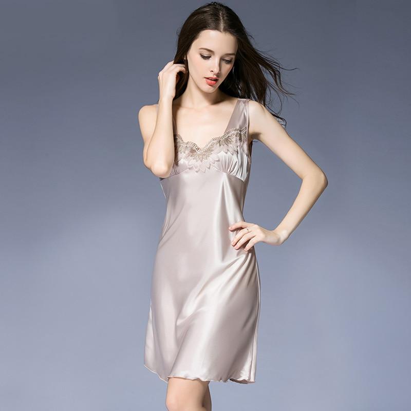 2118 Women Silk   Nightgown   Summer Satin Silk   Sleepshirt   Woman Sleep Sexy V Neck Sleepwear Short Sleeve Comfortable Homewear