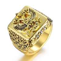 FDLK  Fashion Men's Signet Ring Russian Empire Double Eagle Rings For Male Punk Gold Color Arms Of The Russian Big Ring
