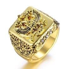 Anillo de moda FDLK para hombre, anillo de doble águila, Imperio Ruso, para hombre, Punk, Color oro, brazos del anillo grande ruso