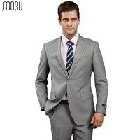 MOGU Pure Color Two Piece Men Suits 2017 New High Quality Fashion Solid Formal Suits For Men Slim Fit Asian Size 4XL Men's Suits