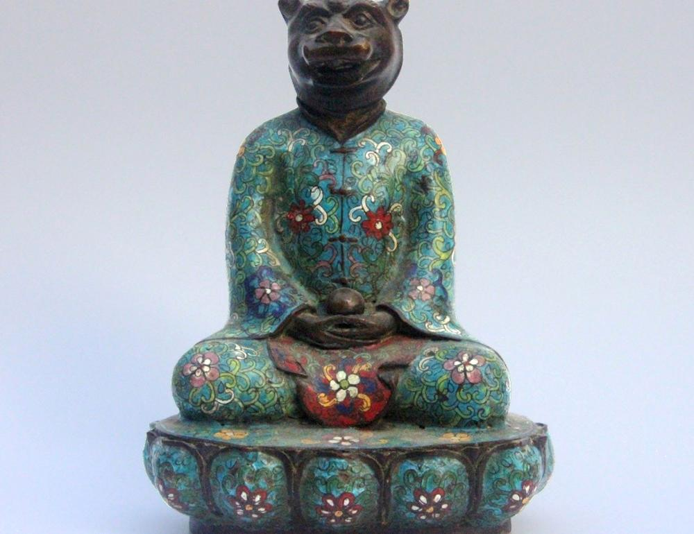 Chinese Zodiac Animal Pure Bronze Copper Cloisonne Enamel Tiger Figurine Statue