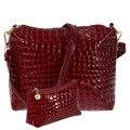 2pcs/set Women Messenger Bag Alligator Pattern PU Leather Casual Crossbody Bag Ladies Fashion Clutch Bag Composite Handbags