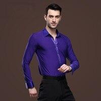 High quality Man Ballroom Dance Tops Long Sleeve Mens Latin Dance Shirts Lapel/Collar Practice/Performance Dance wear Tops