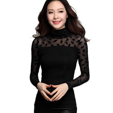 woman casual T-shirt long sleeveless turtleneck elegant mesh t-shirt woman spring autumn feather embroidery tops tees female(China)